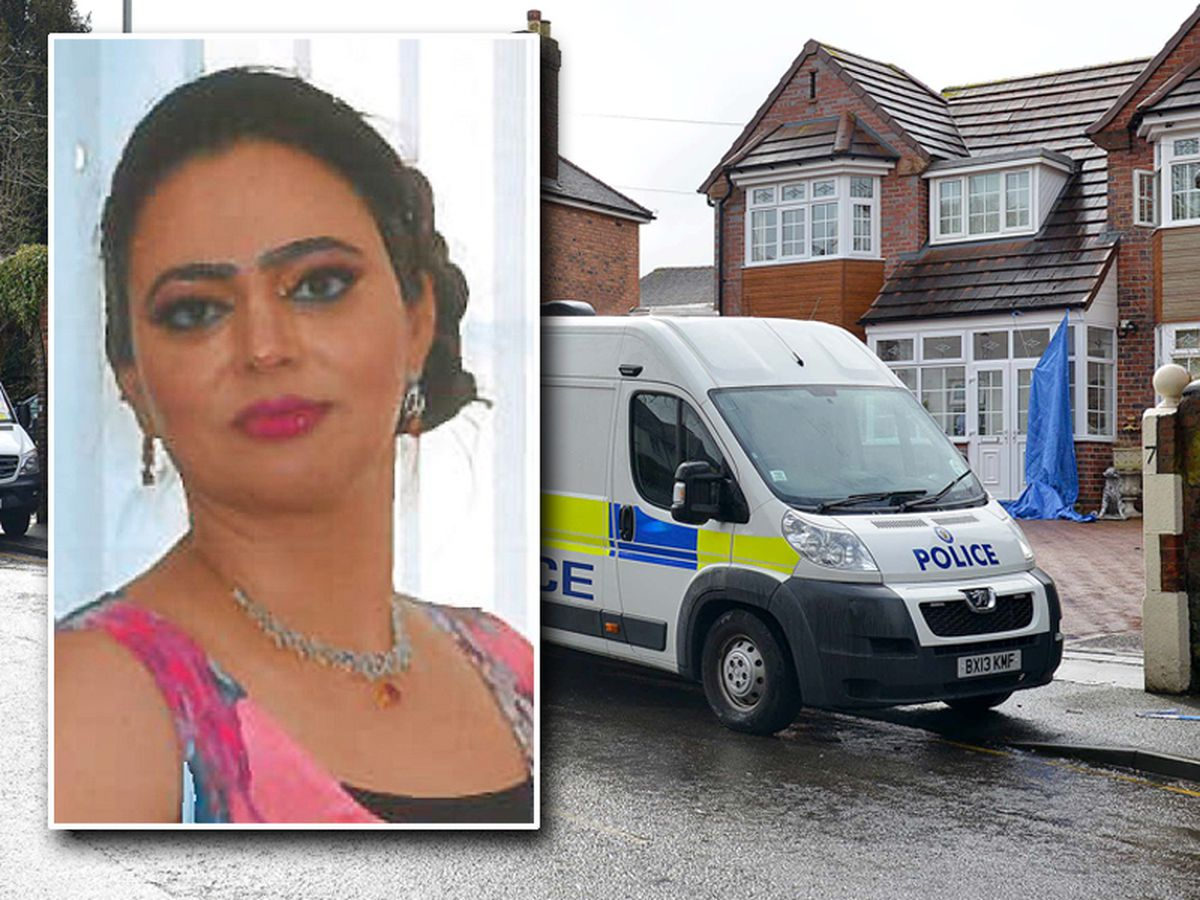 The body of Sarbjit Kaur, inset, was found in the sewing workshop of their detached Wolverhampton home