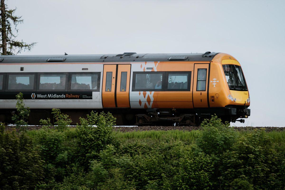 A West Midlands Railway train passing through Shifnal