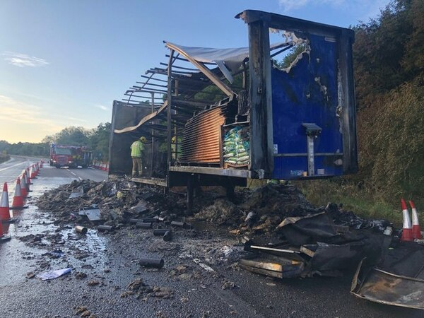 M6 closed for up to nine hours leaving eight-mile tailback after lorry fire