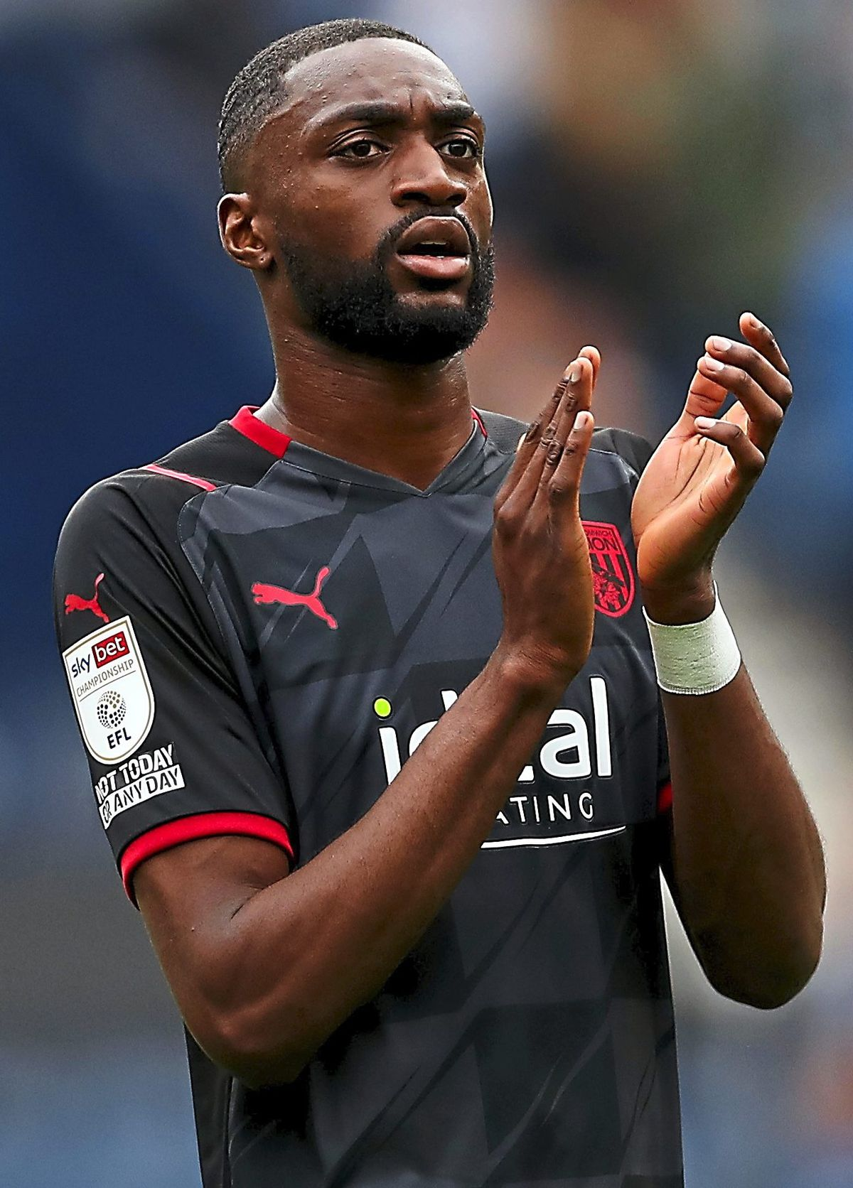 PRESTON, ENGLAND - SEPTEMBER 18:.Semi Ajayi of West Bromwich Albion applauds the travelling West Bromwich Albion Fans at the end of the Sky Bet Championship match between Preston North End and West Bromwich Albion at Deepdale on September 18, 2021 in Preston, England. (Photo by Adam Fradgley/West Bromwich Albion FC via Getty Images).