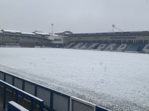 AFC Telford United's New Bucks Head under snowfall. The Bucks' trip to Kidderminster Harriers today was postponed