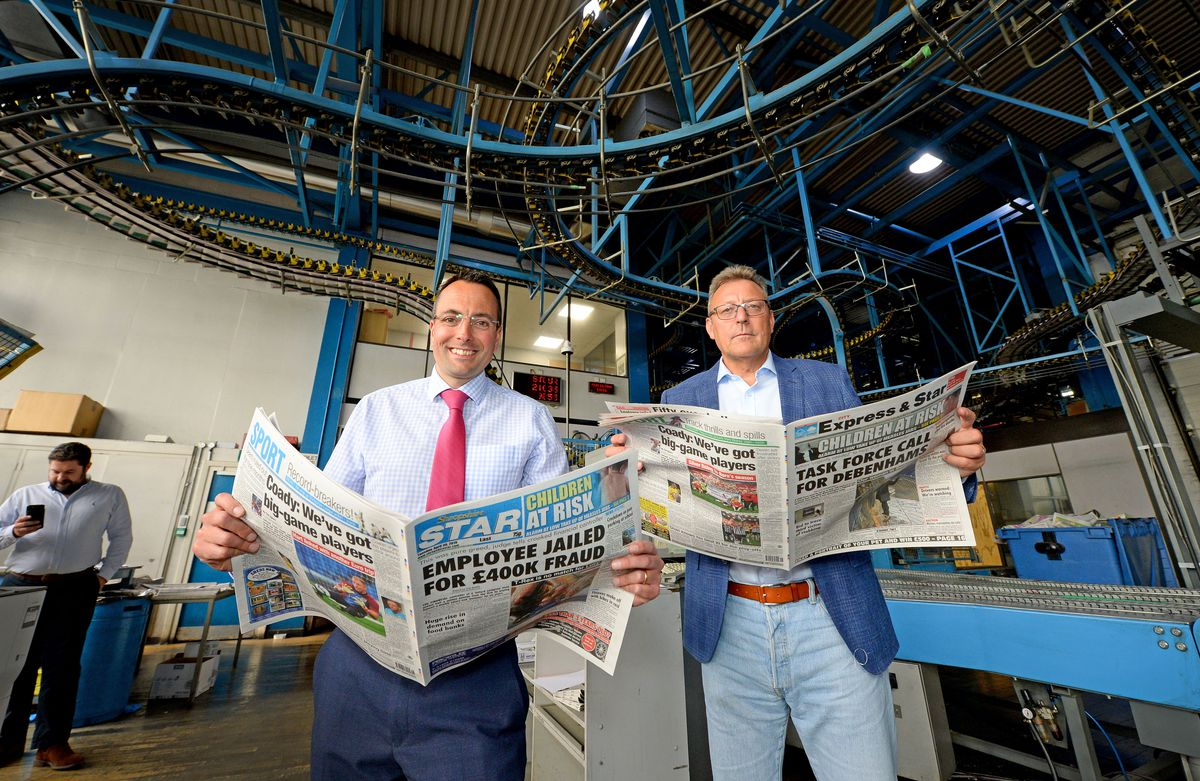 Camelot chief executive Nigel Railton is shown around the Express & Star and Shropshire Star by editor-in-chief Martin Wright