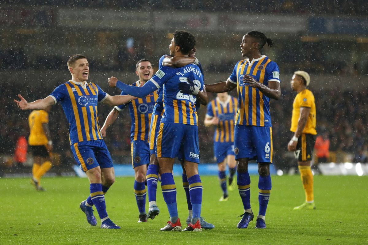 Josh Laurent of Shrewsbury Town celebrates after scoring a goal to make it 1-2 (AMA)