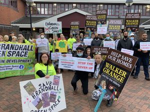 All three sets of protesters outside Sandwell Council