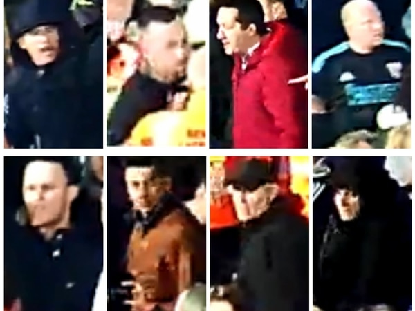 West Brom v Chelsea trouble: Football fans wanted by police are pictured in new CCTV