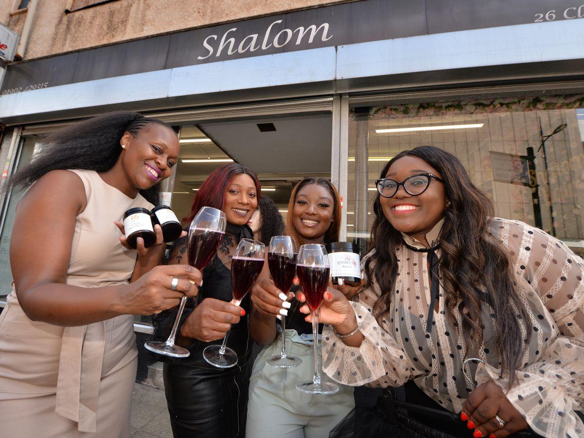 Getting ready to 'Sip and Shop', are, from left: Neo Chatyoka, owner Mercy Gwamura, Yolanda Gwamura, and Lorraine Gbadegesiin, at Shalom Hair Salon, Wolverhampton