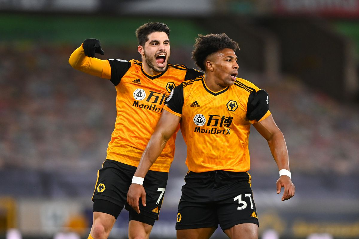 Pedro Neto of Wolverhampton Wanderers celebratea after scoring a goal to make it 1-0 after an own goal by goalkeeper Illan Meslier of Leeds United following a shot at goal by Adama Traore (AMA)