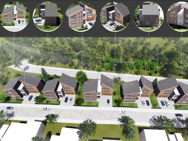 An artist's impressions of proposed houses for derelict land in Wallows Lane, Walsall