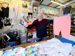 Bloomin' eck! ..Colin Downs, aged 86, is retiring from Brierley Hill Market Hall, after selling bloomers, knickers and bras for almost 50 years. He also ran Rolfe St Baths in the 50s and 60s met the Beatles and all the other big 60s groups and acts. He starred in Doreen's Black Country Dvd too.