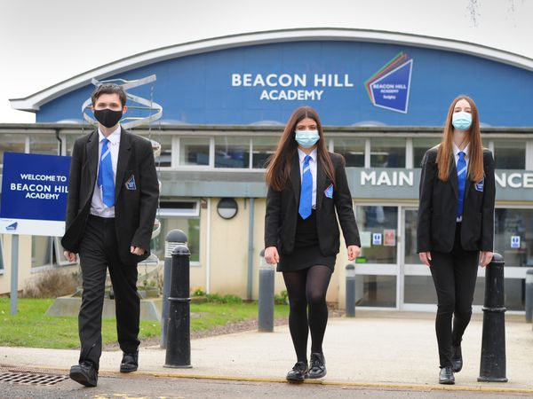 From left: Beacon Hill Academy students Bradley Totney, 16, Rosa Shadforth-Groucutt, 16, and Evie Bourton, 15