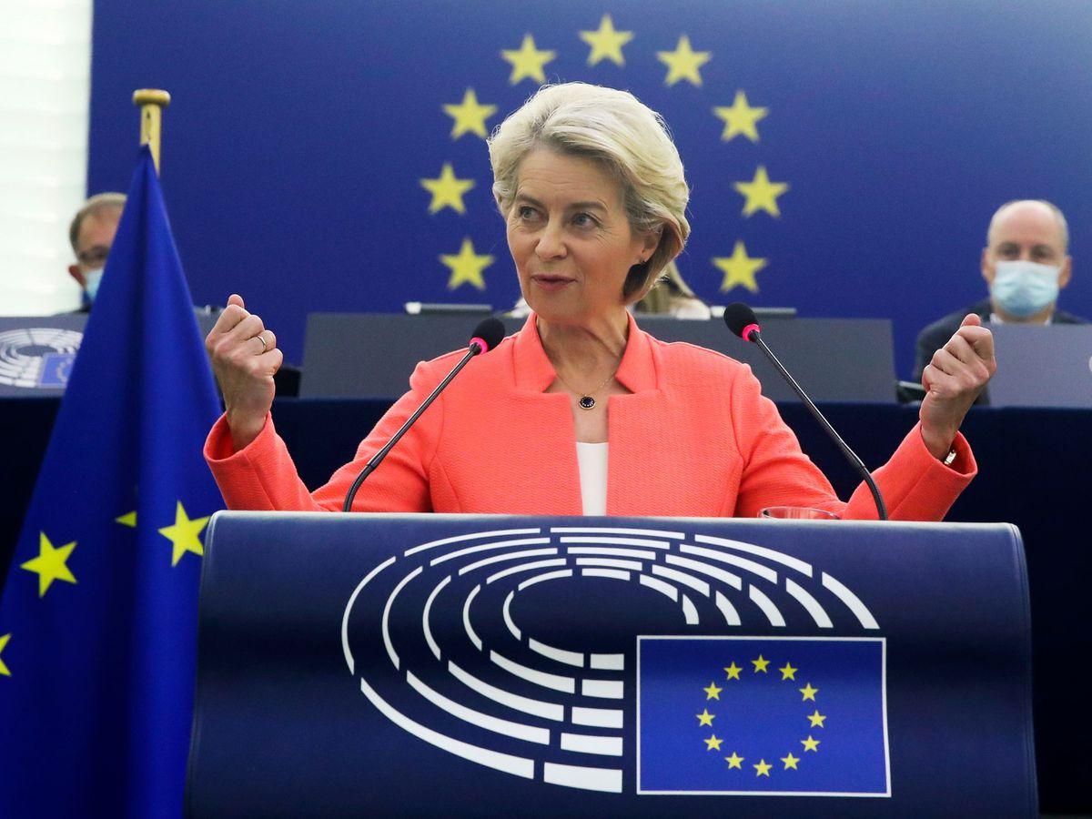 European Commission President Ursula von der Leyen speaking at the European Parliament in Strasbourg