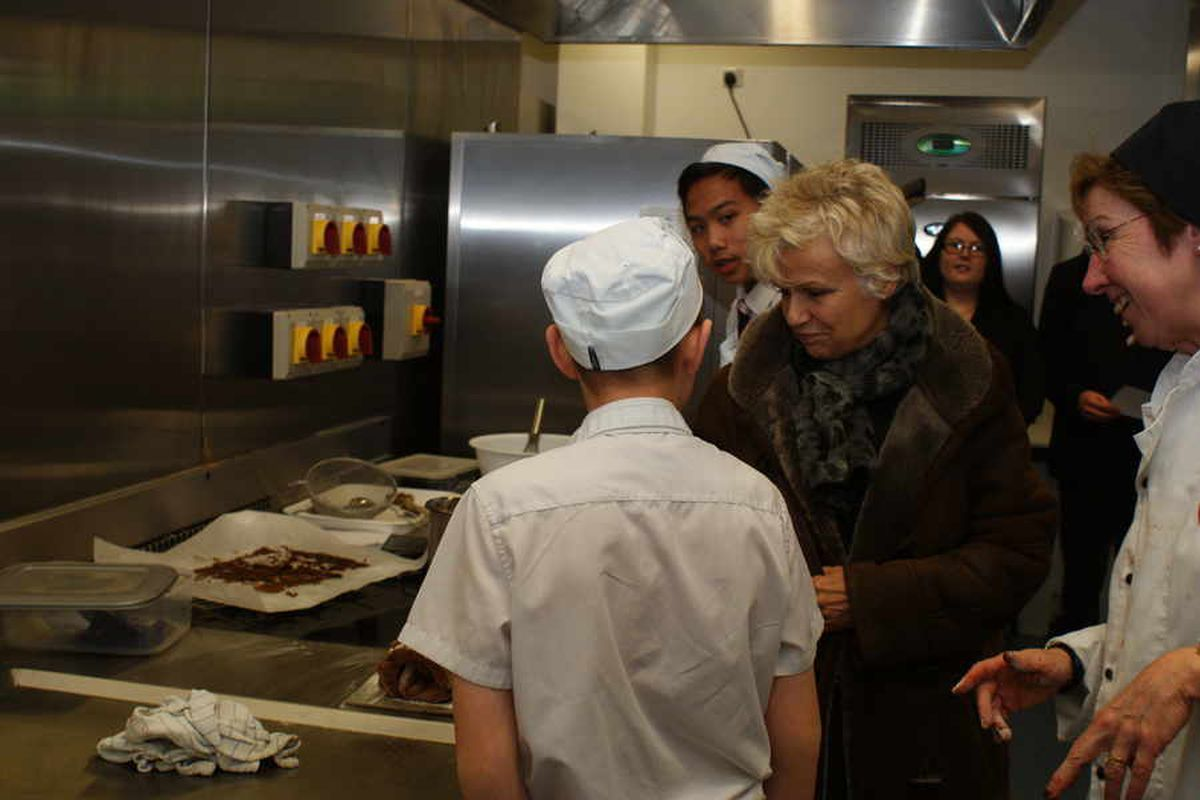 Julie Walters in the Sandwell Academy kitchens.