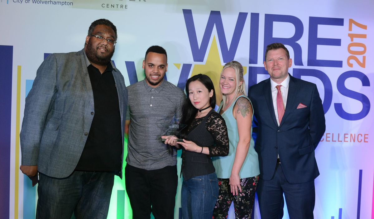 Winners of Our Favourite Retailer of the Year was Batteries Not Included. Iain Ashbourne, Billy Young, Coco Ashbourne, and Niki Leach with Keith Harrison, Editor of award sponsor the Express & Star