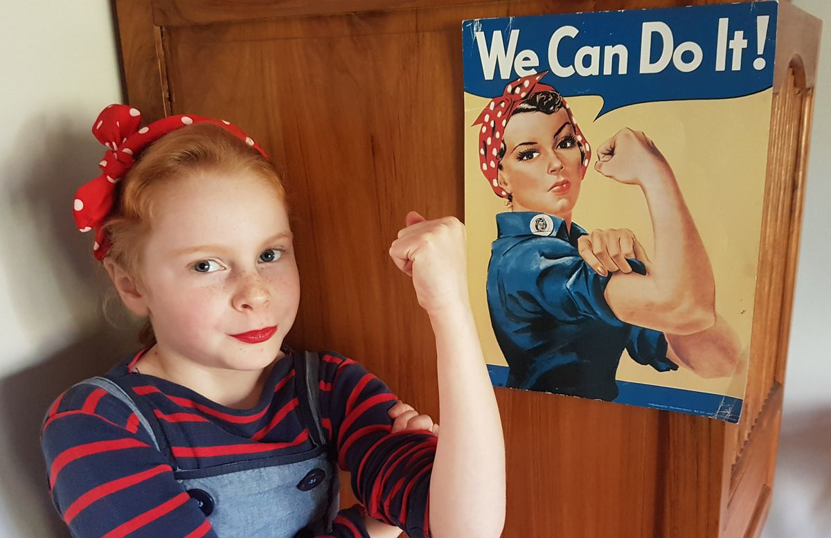 Florence Gomm from Wolverhampton getting into the spirit of VE Day