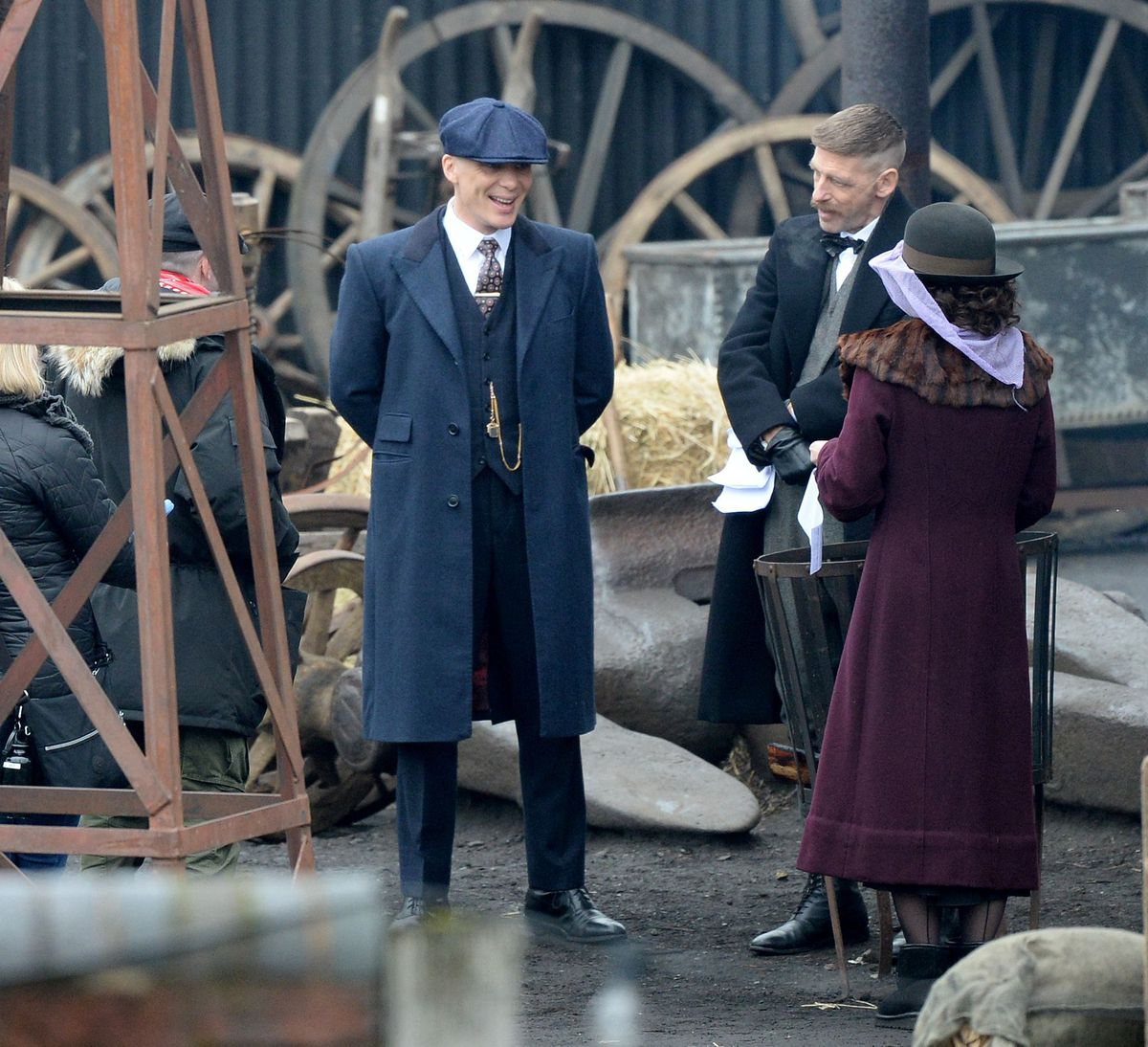 Cillian Murphy, Paul Anderson and Helen McCrory filming Peaky Blinders at the Black Country Living Museum