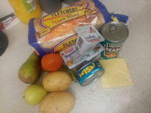 A food hamper received by Kerry Wilks