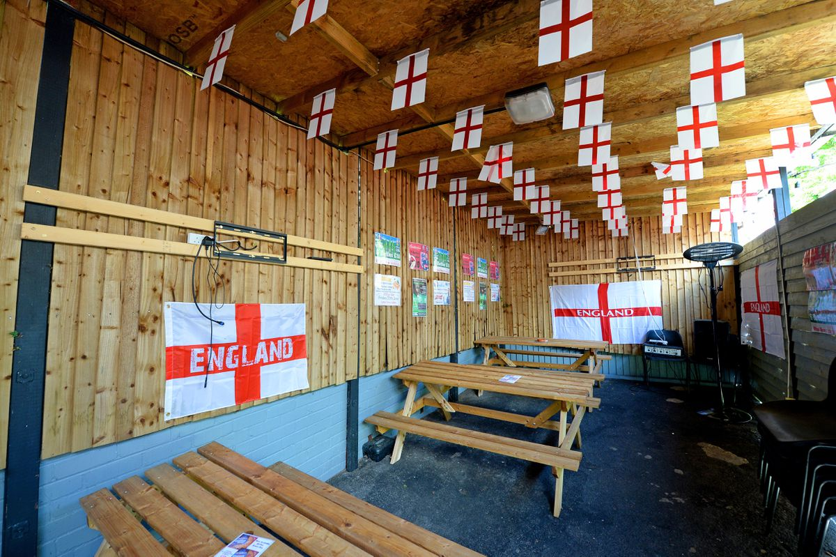 The outside area of Britannia Sports Bar in Wollaston has been decorated ahead of Euro 2020