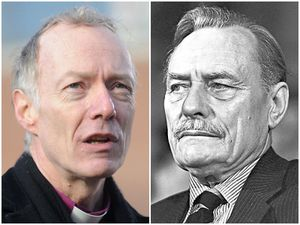 Bishop Clive Gregory and, right, Enoch Powell