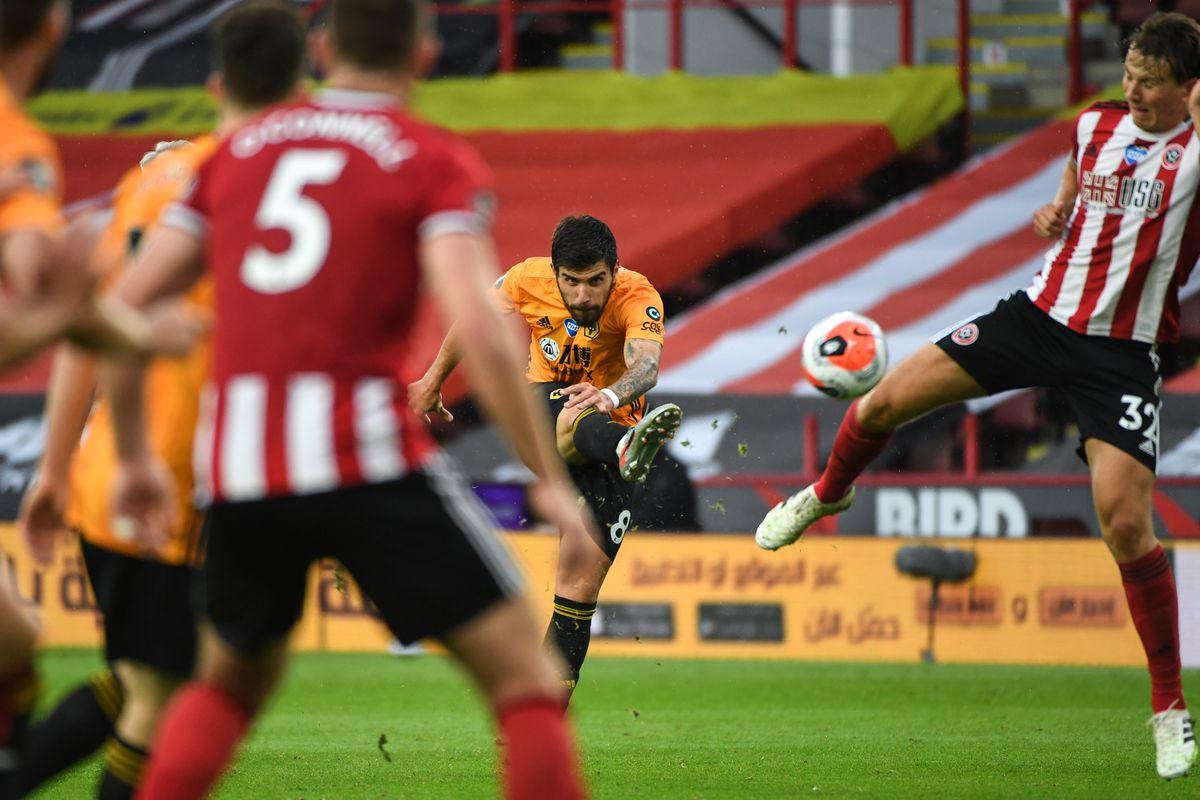 Ruben Neves of Wolverhampton Wanderers has a shot (AMA)
