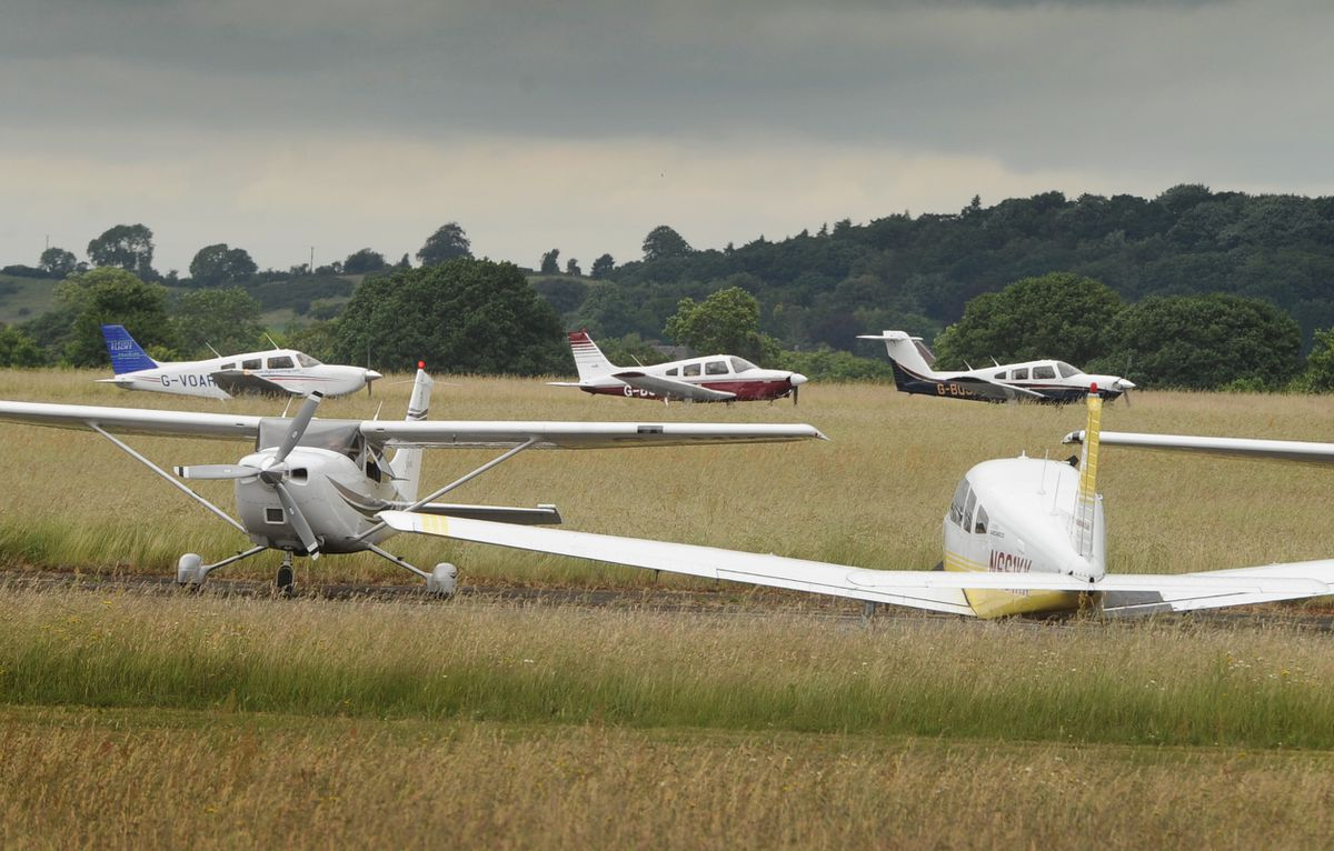 Veterans leave, taken back home in small planes, following an event at Wolverhampton Halfpenny Green Airport..