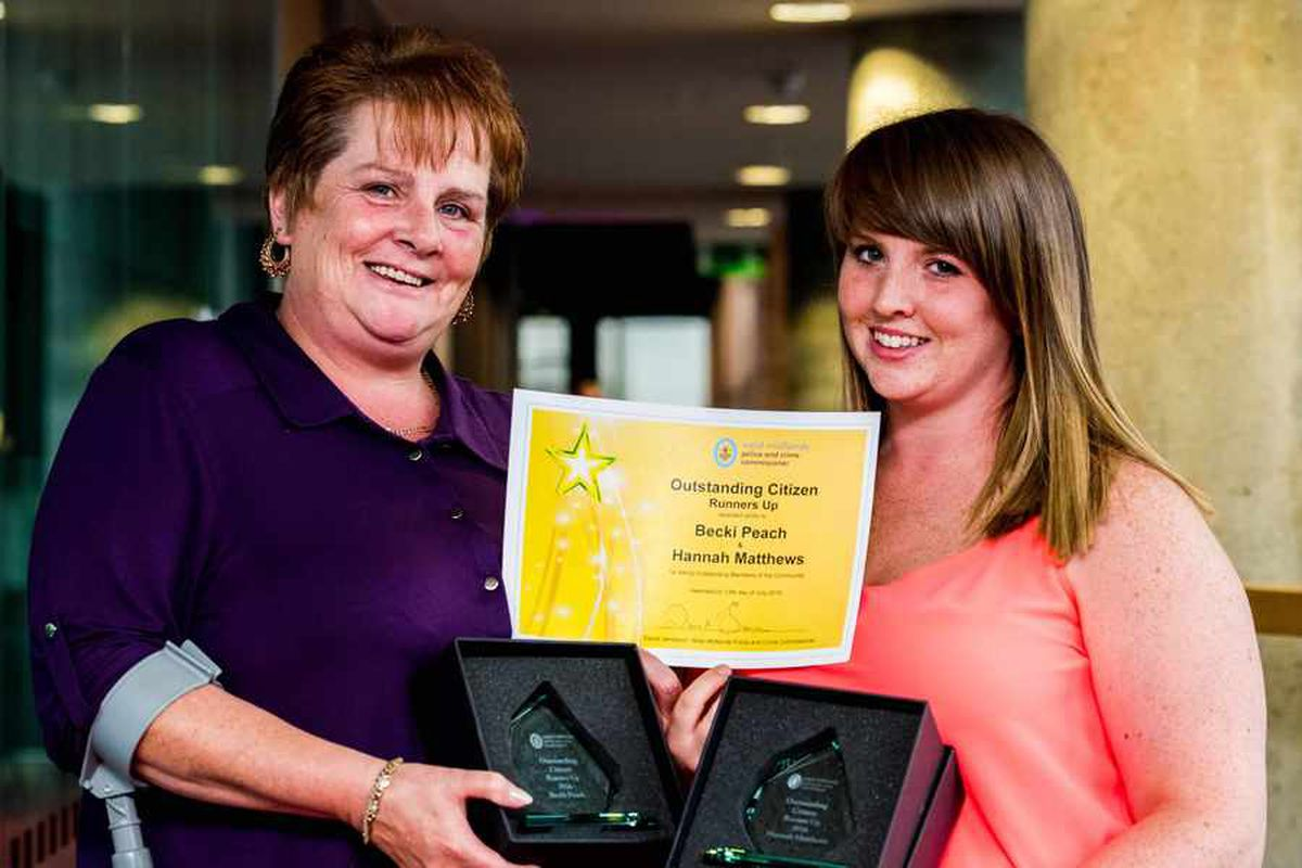 Mother and daughter Becki Peach and Hannah Matthews were also runners up