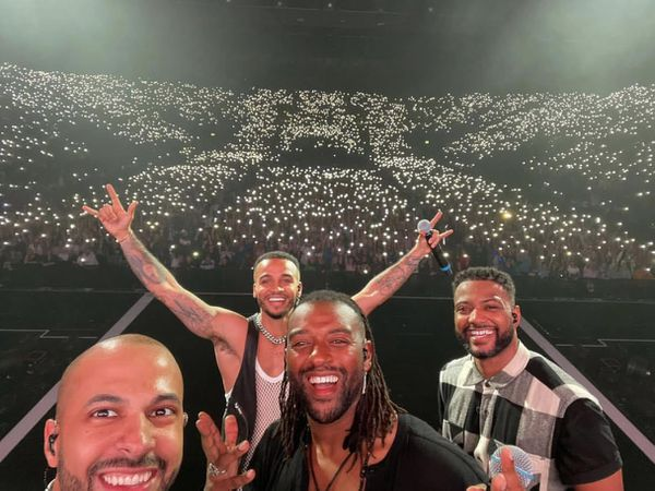 The stars snapped this selfie at Resorts World Arena on Saturday night. Credit: Marvin Humes