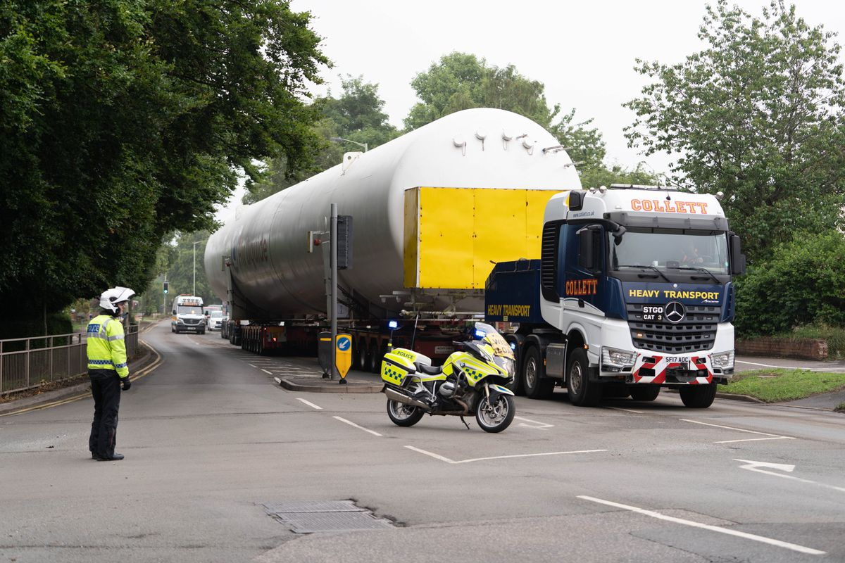 The first oxygen tank being transported through Staffordshire. Photo: Andrew Elliott