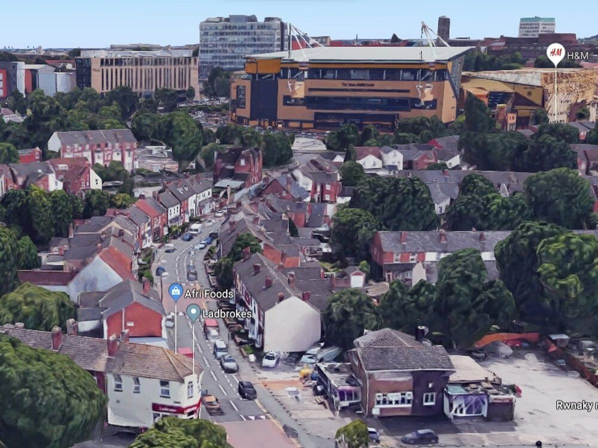 An aerial view showing Staveley Road leading towards Molineux. Photo: Google