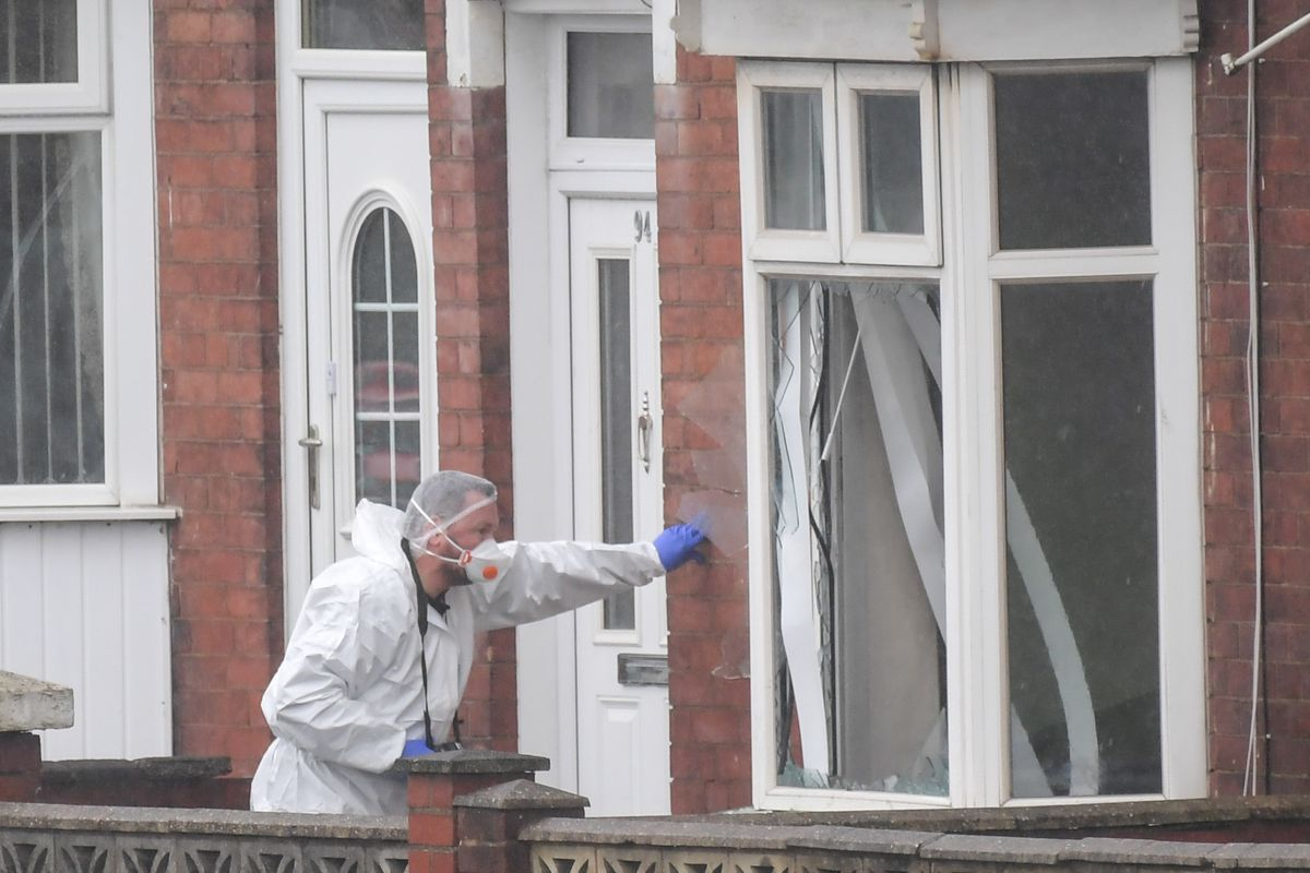 Smashed windows on a house on Pensnett Road, next to Kerry Close. Photo: SnapperSK