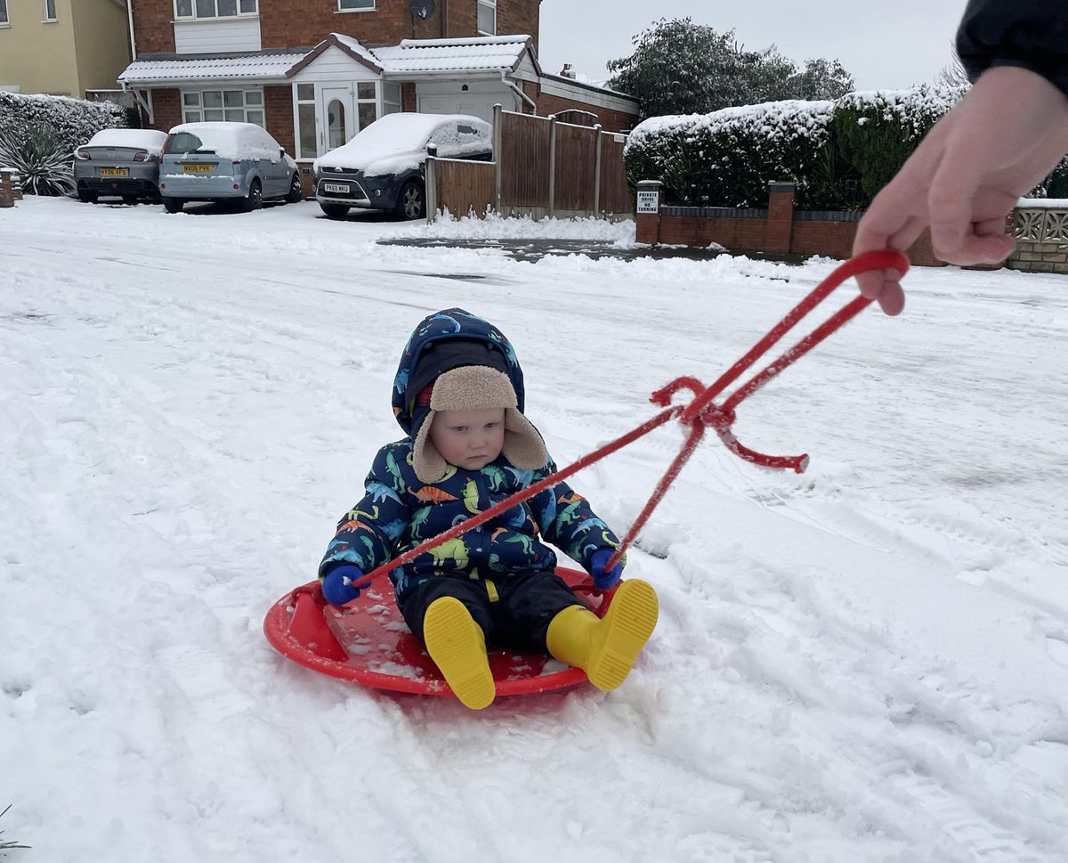 One-year-old Theo's first time in the snow. Pic: Sophie Shaylor