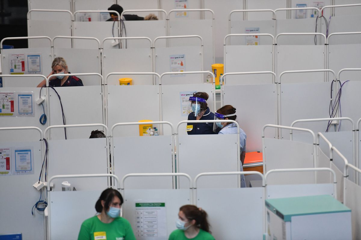A view of the Covid-19 vaccine programme at the NHS vaccine centre that has been set up at the Millennium Point centre in Birmingham