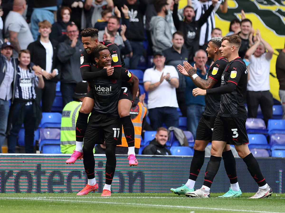 Grady Diangana of West Bromwich Albion celebrates after scoring a goal to make it 1-0. (AMA)
