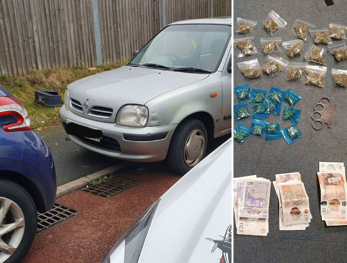 The car and items seized by police