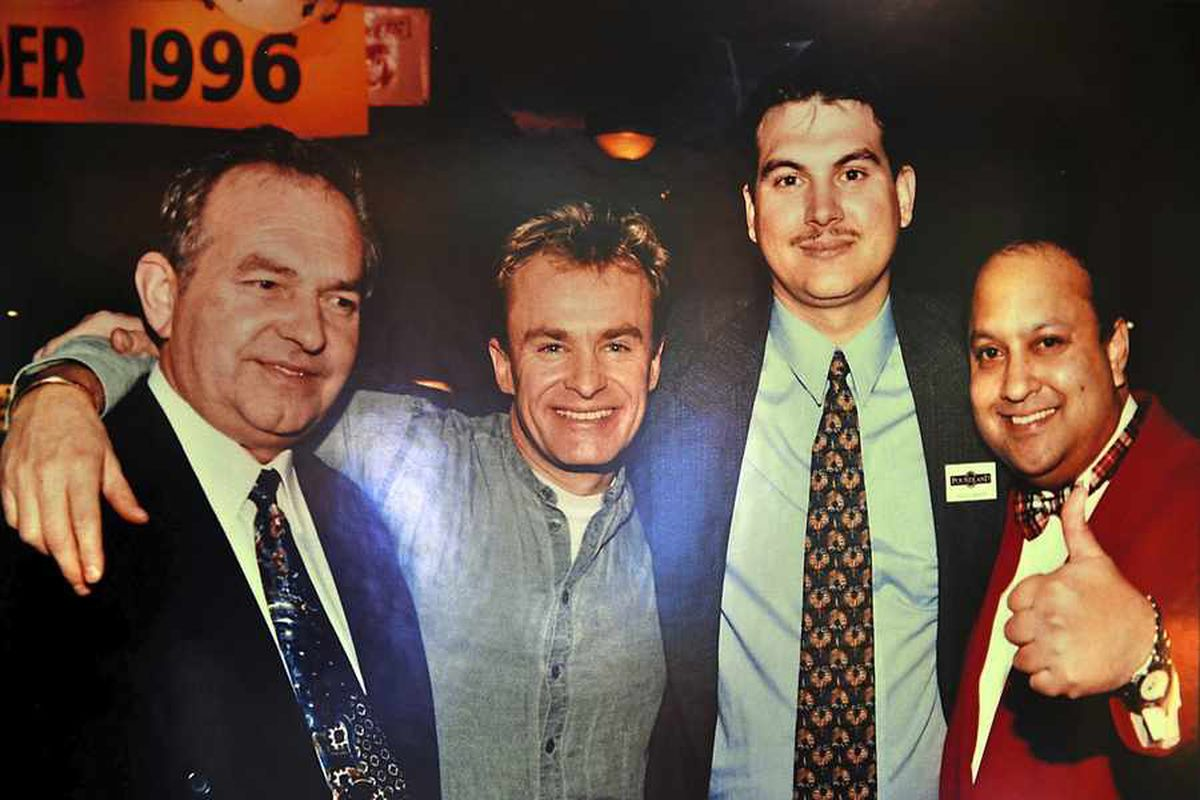 Steve Smith, centre right, with Bobby Davro, his father Keith, and Poundland co-founder David Dodd