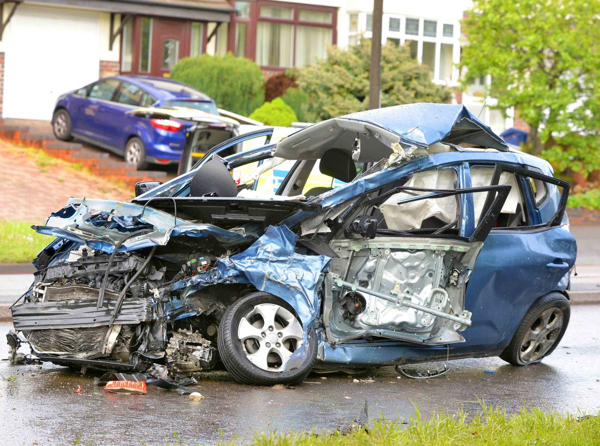 One of the cars involved in the crash on Wolverhampton Road