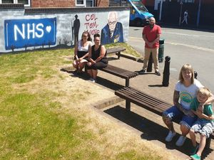 Kiera and Rhianna Wade, Councillor Danny Millard with artist Lynsey Marshall and son Jasper