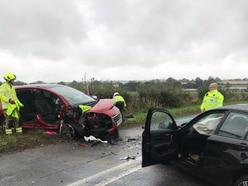 Driver trapped and four injured in Bridgnorth Road crash