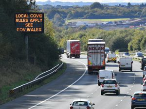 The M4 motorway near Cardiff in Wales