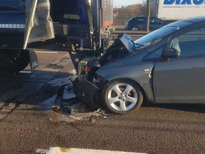 One car with front end damage. Image: West Bromwich Fire Station/West Midlands Fire Service