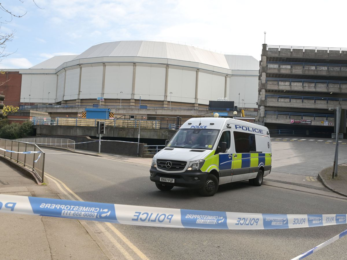 A police cordon outside the Utilita Arena, or old NIA, after a teenager was shot. Photo: SnapperSK