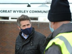 Gavin Williamson MP during a visit to see the vaccination roll-out at the Great Wyrley Community Centre