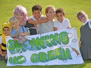 SANDWELL COPYRIGHT TIM STURGESS EXPRESS AND STAR......16/09/2021 'Growing Up Green' children's arts festival with over 10 free events in Bearwood & Smethwick including a toy swap and allotment play sessions. Growing Up Green' is a Children and Family Arts Festival that celebrates action on climate change as part of The Great Big Green Week. Pictured ,  Left, Remy Campbell,Dotty and Jodi Ternent, Alex Herber-Davies, Amy Martin,Theo Campbell and butterfly Dylan Ternent..