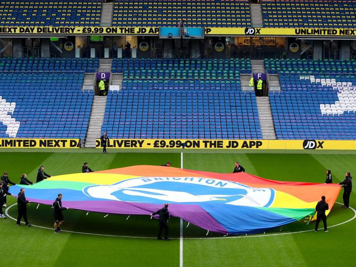 The rainbow flag on the pitch at the Amex Stadium ahead of Brighton's Premier League clash with Wolves
