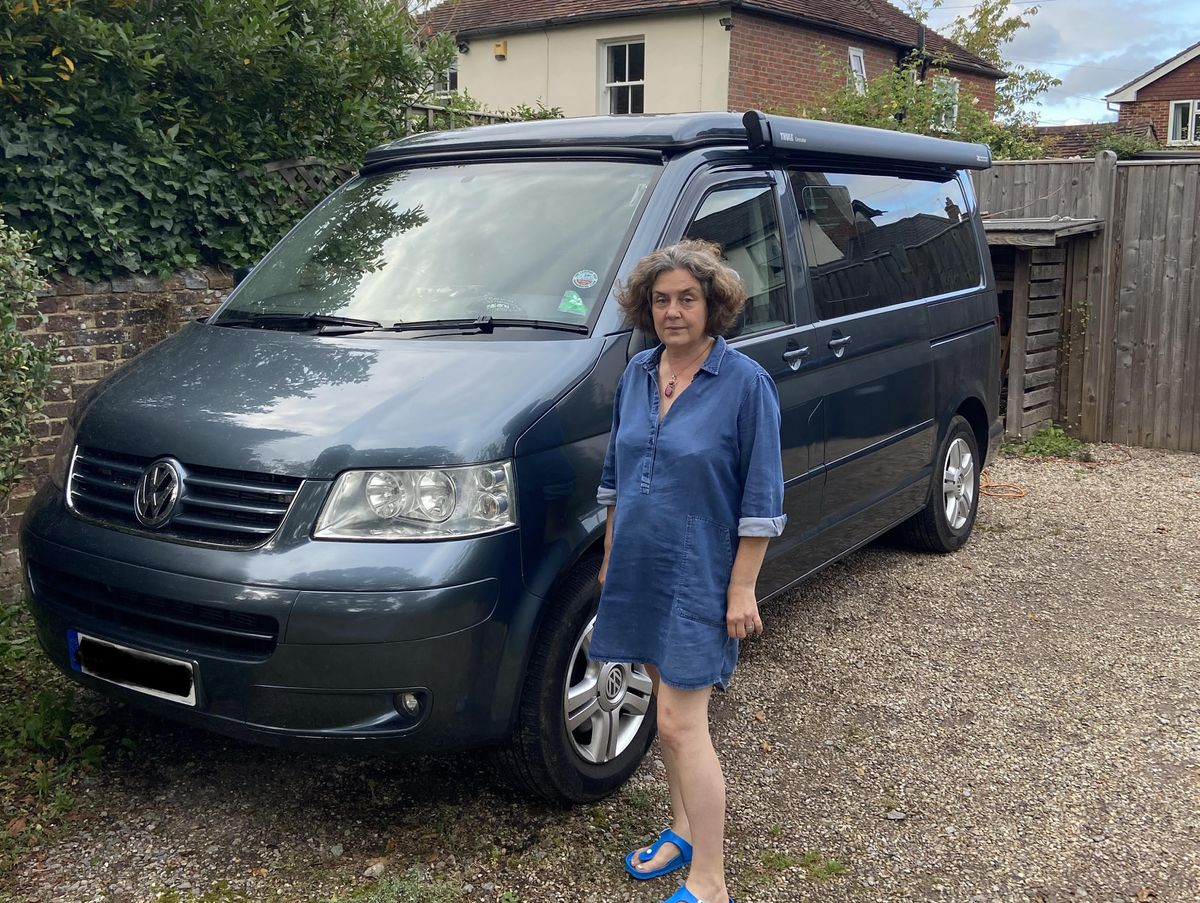 Ruth Costello and her VW car which has been subject to 19 PCNs. Photo: Ruth Costello