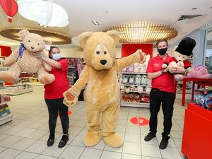 The new Hamleys toy store, Merry Hill shopping centre. Richard Jones and Kirsty Robson with the Hamleys Bear