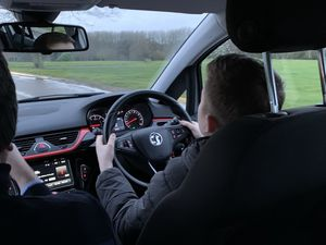 Finalist Matthew Haynes behind the wheel at a Youg Driver lesson.