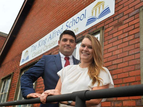 Co-founders Tom Bowen, and headteacher Hayley Bowen, at The King Alfred School in Lower Gornal in Dudley