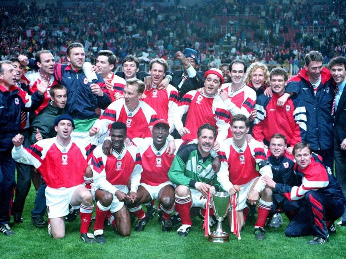 Arsenal's team celebrate winning the 1994 European Cup Winners' Cup after a 1-0 win over Parma in Copenhagen