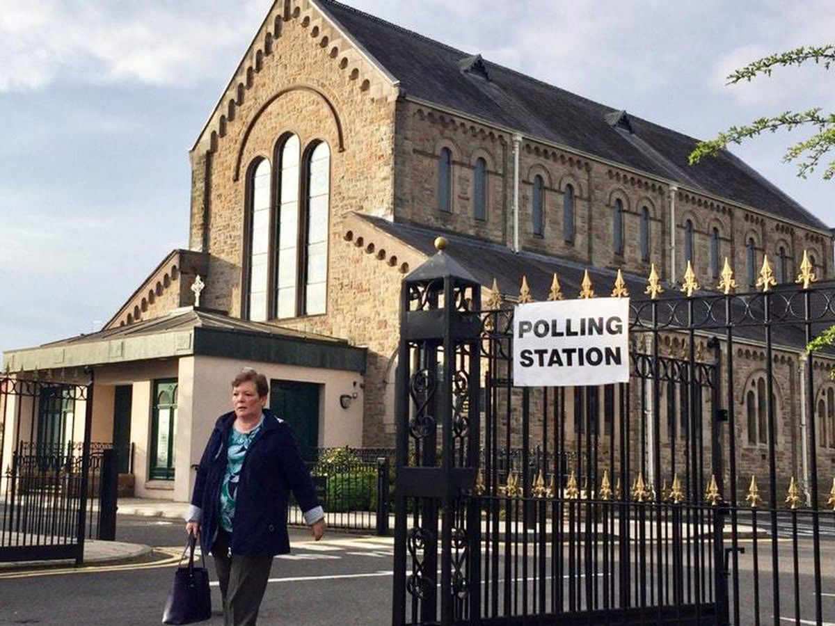 A polling station in Belfast