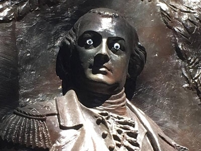 Police call for information after statue defaced with googly eyes
